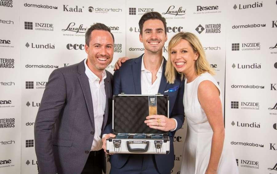 David Hoad accepting Emerging Design Professional Award at the 2017 New Zealand Interior Design Awards