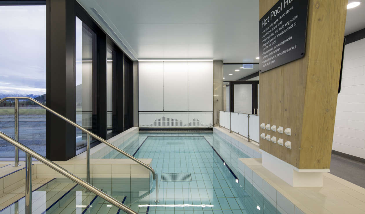 Acoustic finishes and a stainless-steel pool at the Wanaka Recreation Centre give the overall effect of a calming and almost meditative space.
