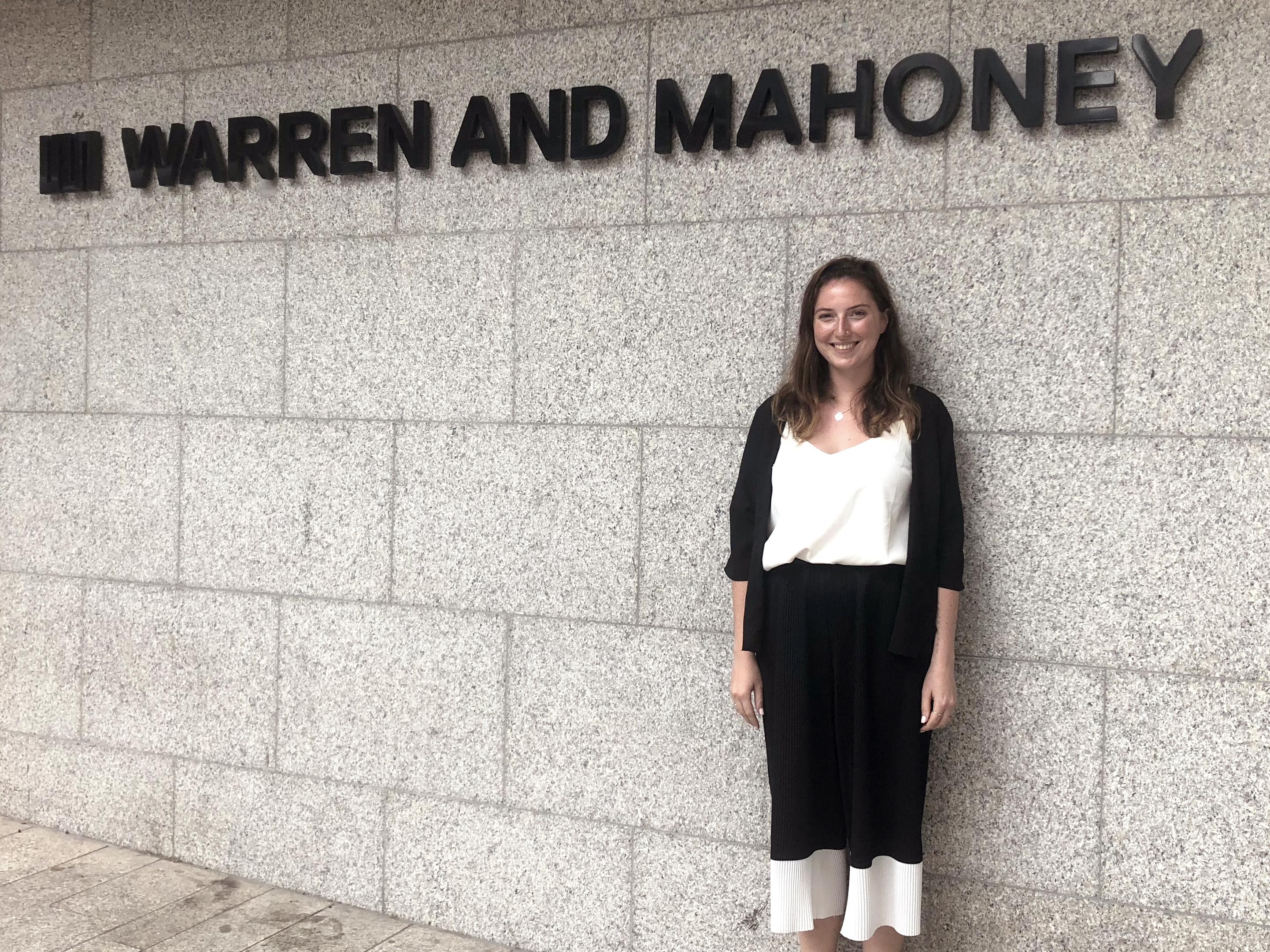 Welcome to Charlotte Hughes-Hallett, Warren and Mahoney MIA Scholarship Recipient
